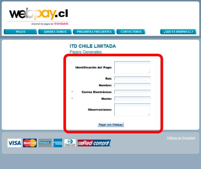 Formas de pago Webpay
